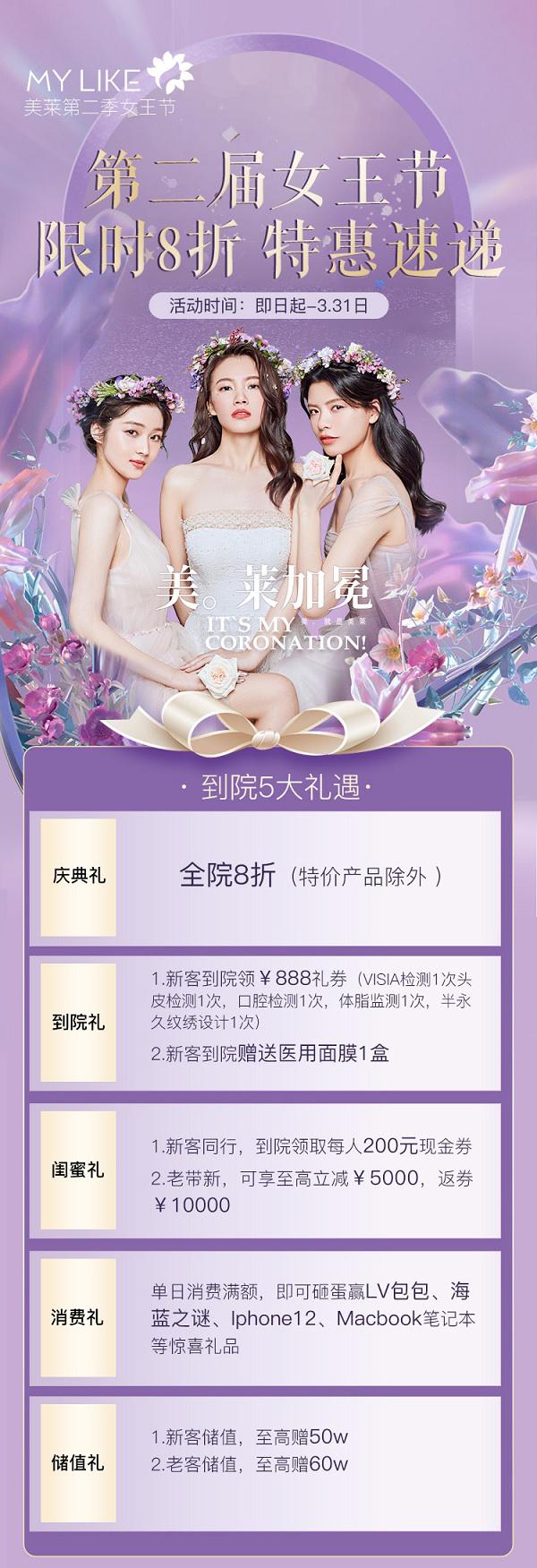 上海美莱2021年3月优惠活动第二季女王节限时8折